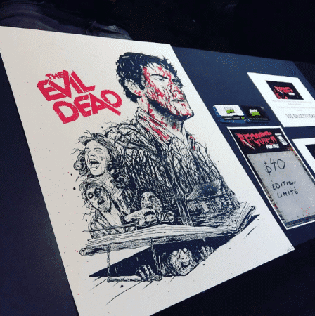 L'affiche de The Evil Dead exclusive au Requiem Fear Fest conçue par Happy Brawl. Via @mathias_art sur instagram